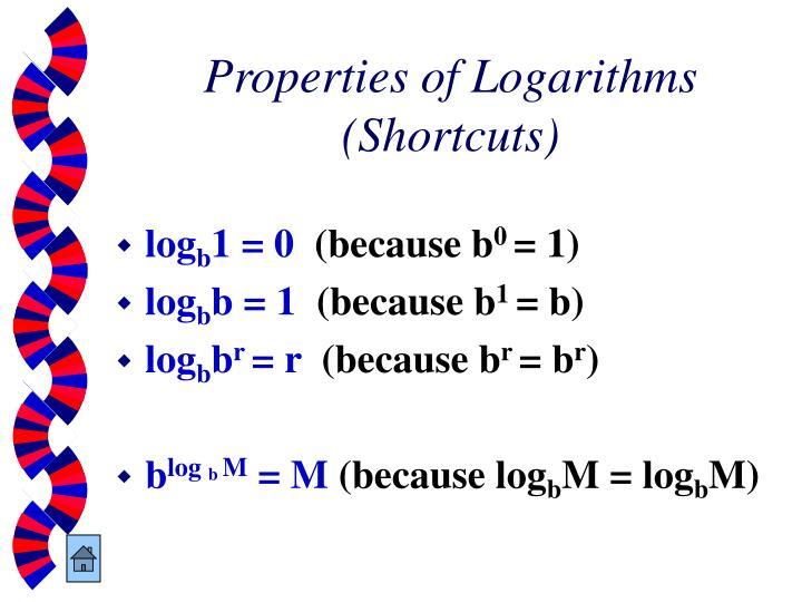 Properties of Logarithms (Shortcuts)