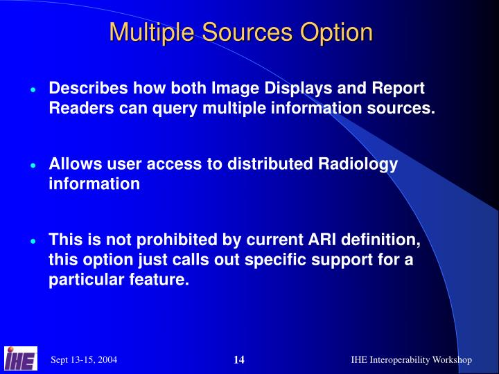 Multiple Sources Option