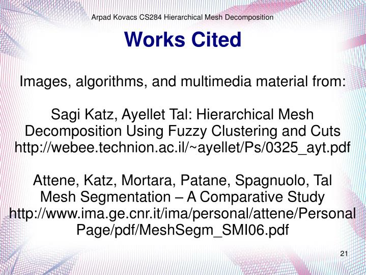 Images, algorithms, and multimedia material from: