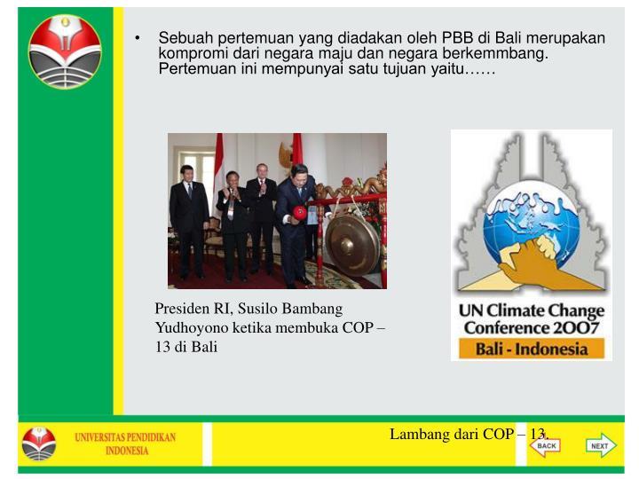 Sebuah pertemuan yang diadakan oleh PBB di Bali merupakan kompromi dari negara maju dan negara berkemmbang. Pertemuan ini mempunyai satu tujuan yaitu……