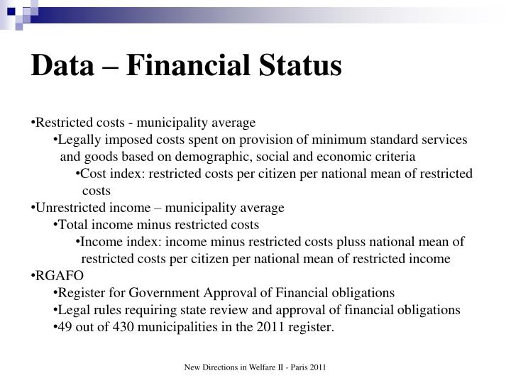 Data – Financial Status
