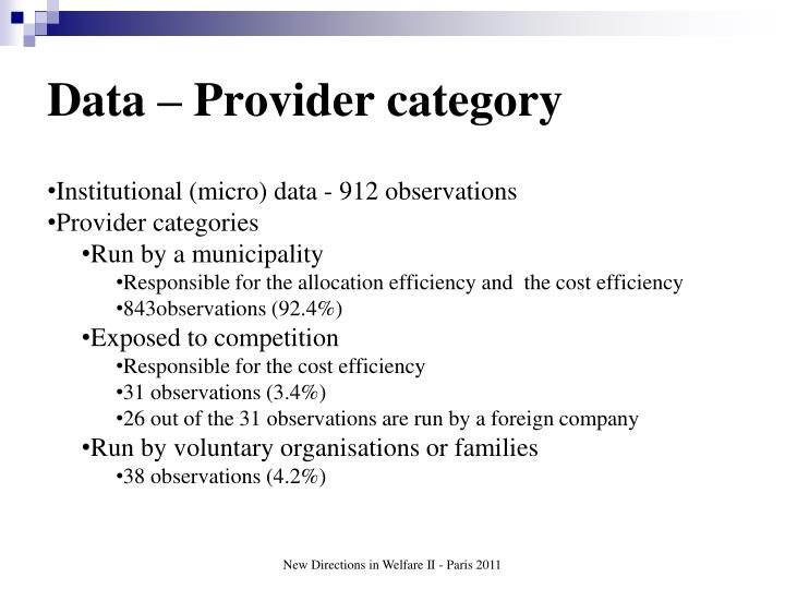 Data – Provider category