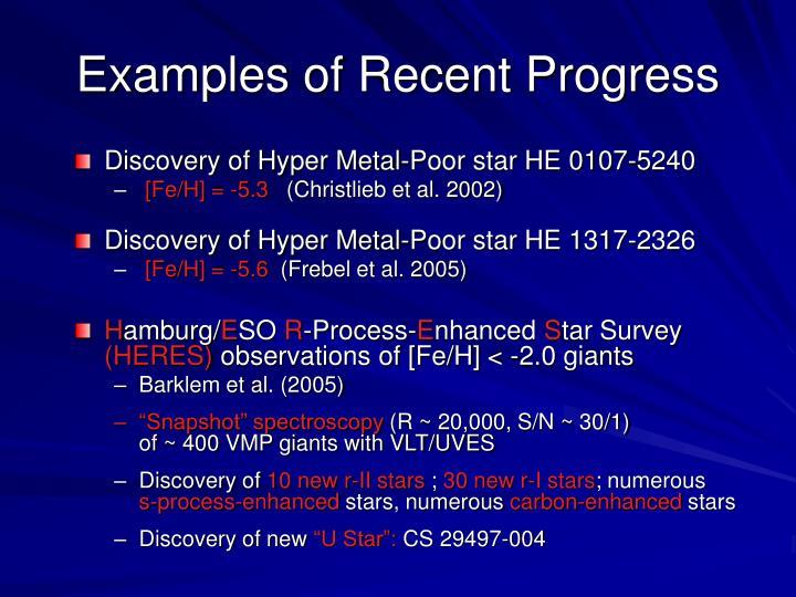 Examples of Recent Progress