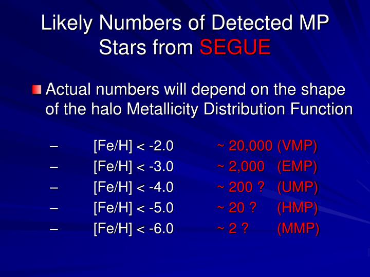 Likely Numbers of Detected MP Stars from