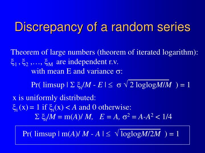 Discrepancy of a random series