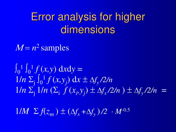 Error analysis for higher dimensions