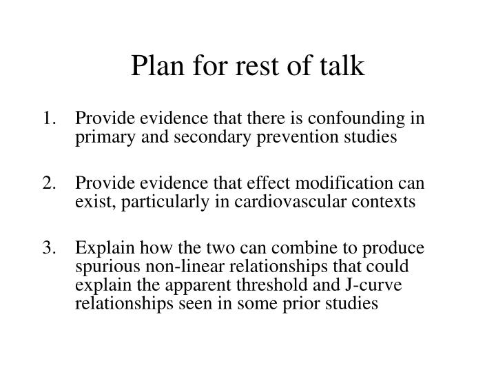 Plan for rest of talk