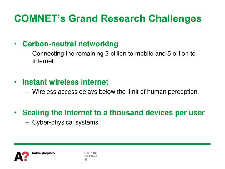 COMNET's Grand Research Challenges