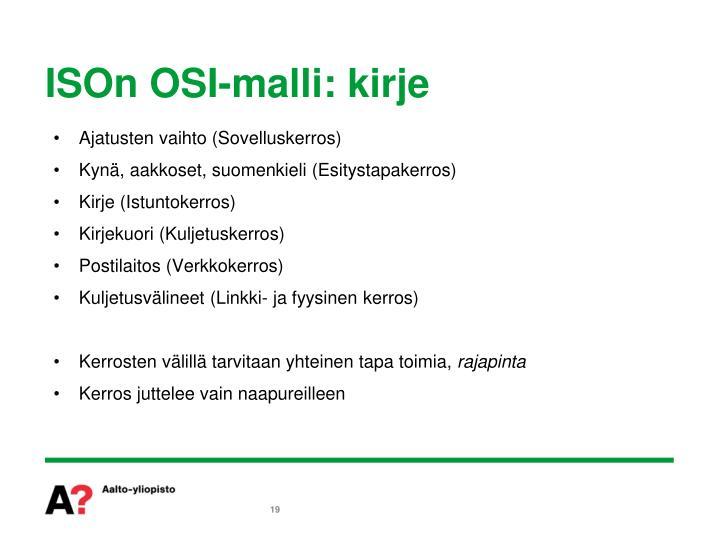 ISOn OSI-malli: kirje