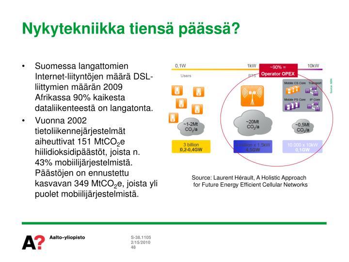 Suomessa langattomien Internet-liityntöjen määrä DSL-liittymien määrän 2009 Afrikassa 90% kaikesta dataliikenteestä on langatonta.
