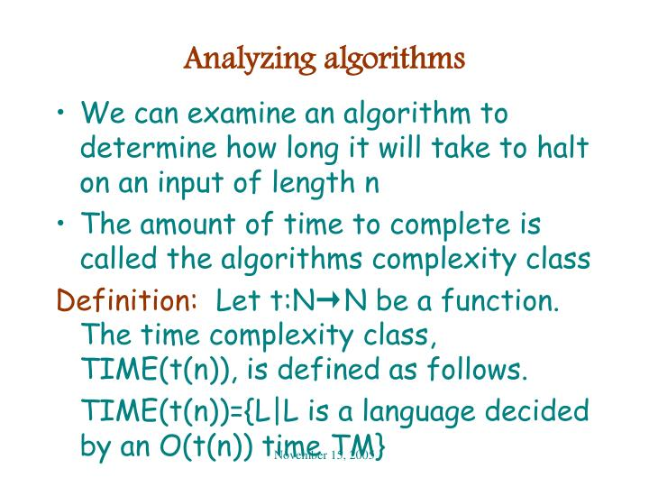 Analyzing algorithms