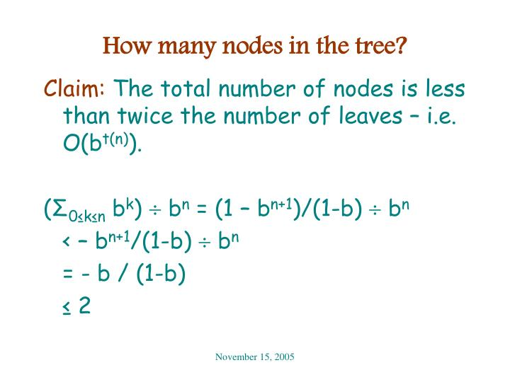 How many nodes in the tree?