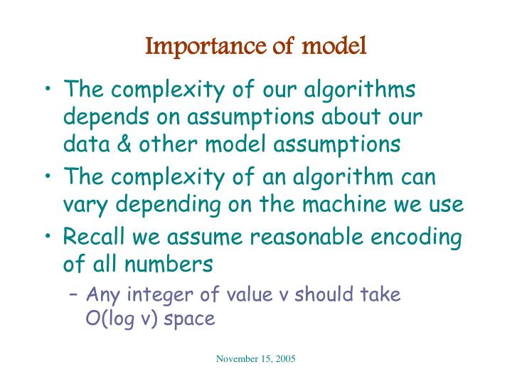 Importance of model