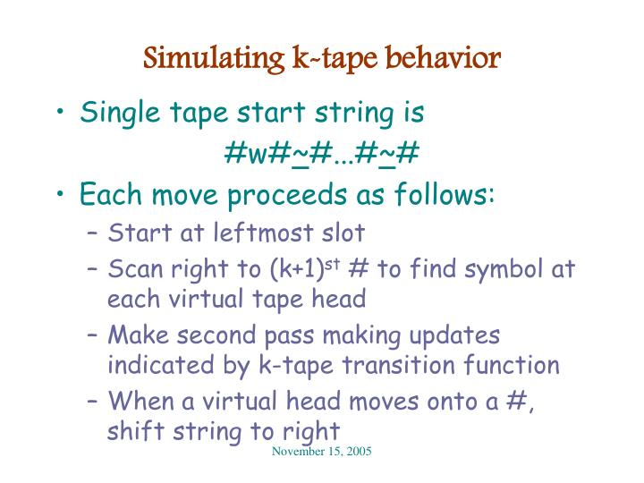 Simulating k-tape behavior