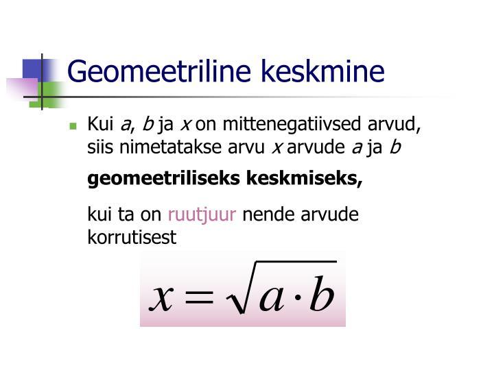 Geomeetriline keskmine