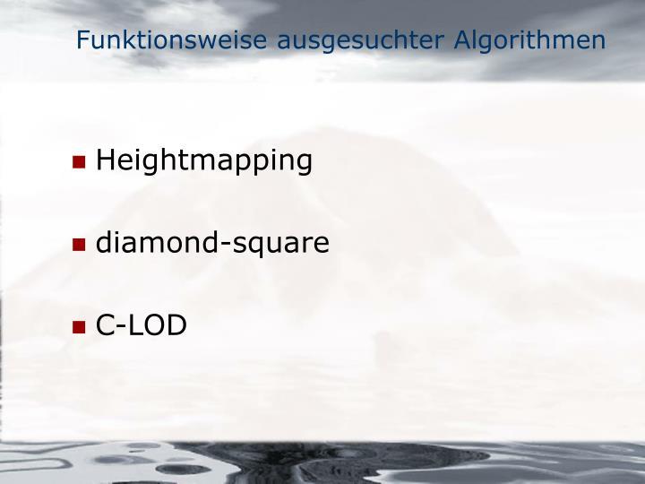 Funktionsweise ausgesuchter Algorithmen