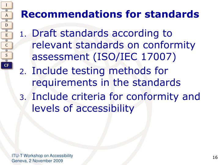 Recommendations for standards