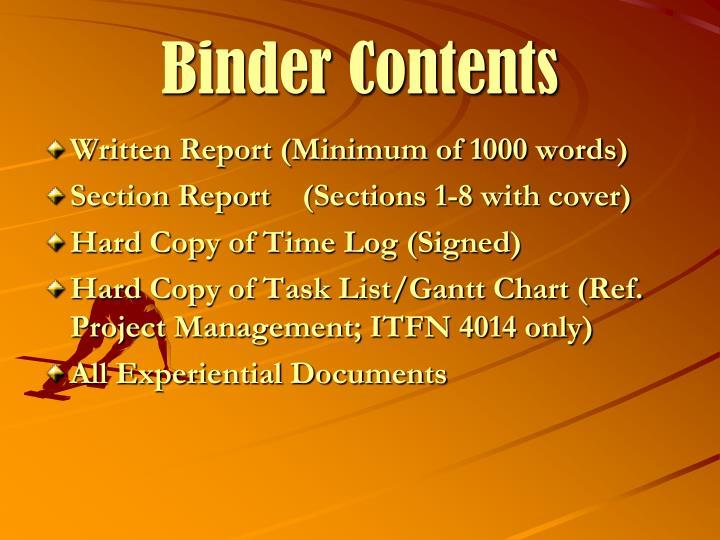 Binder Contents