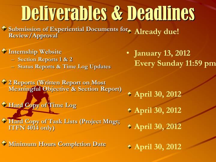 Deliverables & Deadlines