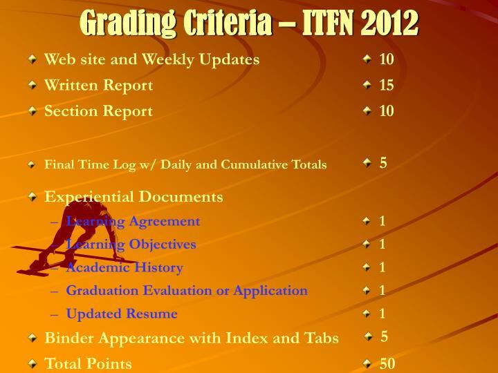 Grading Criteria – ITFN 2012