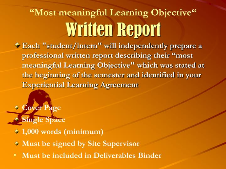 """""""Most meaningful Learning Objective"""""""