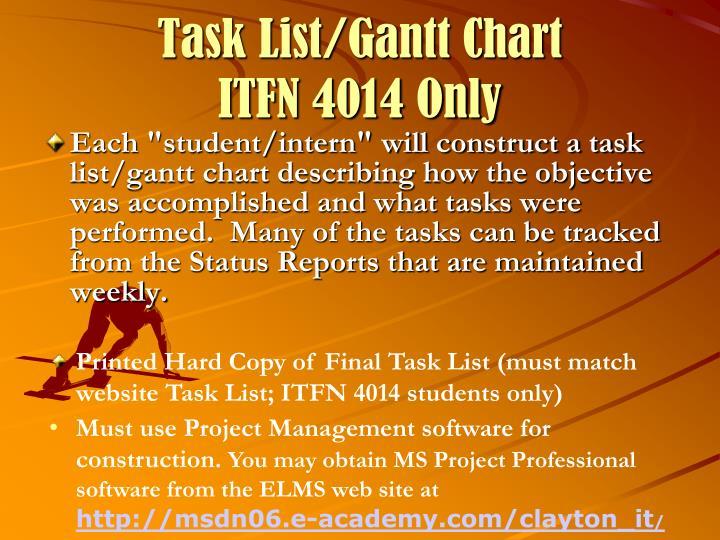 Task List/Gantt Chart