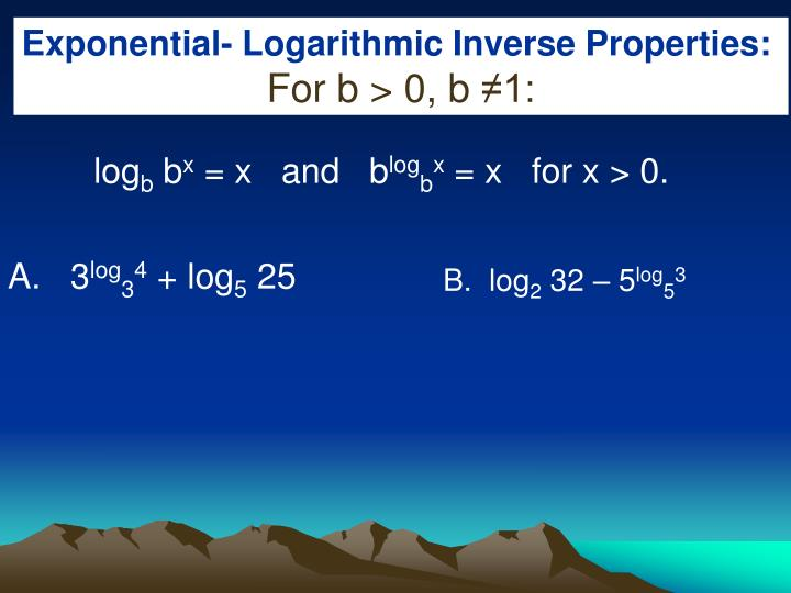 Exponential- Logarithmic Inverse Properties: