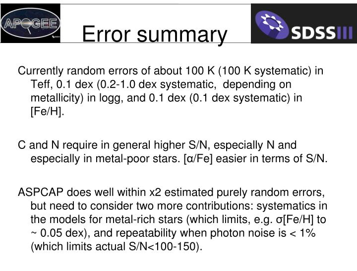Error summary