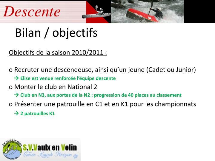 Objectifs de la saison 2010/2011 :