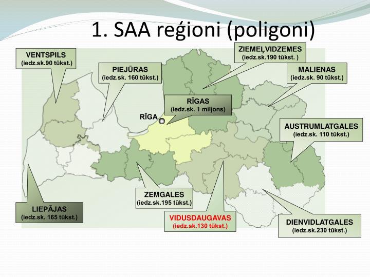 1. SAA reģioni (poligoni)