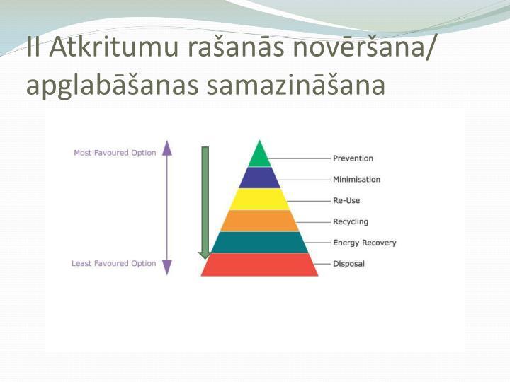 II Atkritumu rašanās novēršana/ apglabāšanas samazināšana