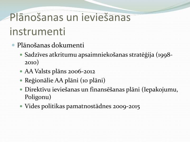 Plānošanas un ieviešanas instrumenti