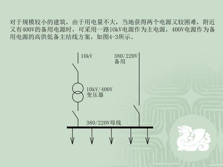 对于规模较小的建筑,由于用电量不大,当地获得两个电源又较困难,附近又有