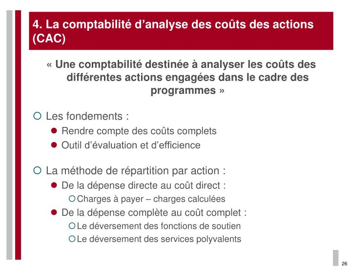 4. La comptabilité d'analyse des coûts des actions (CAC)