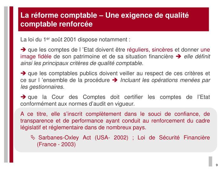 La réforme comptable – Une exigence de qualité comptable renforcée