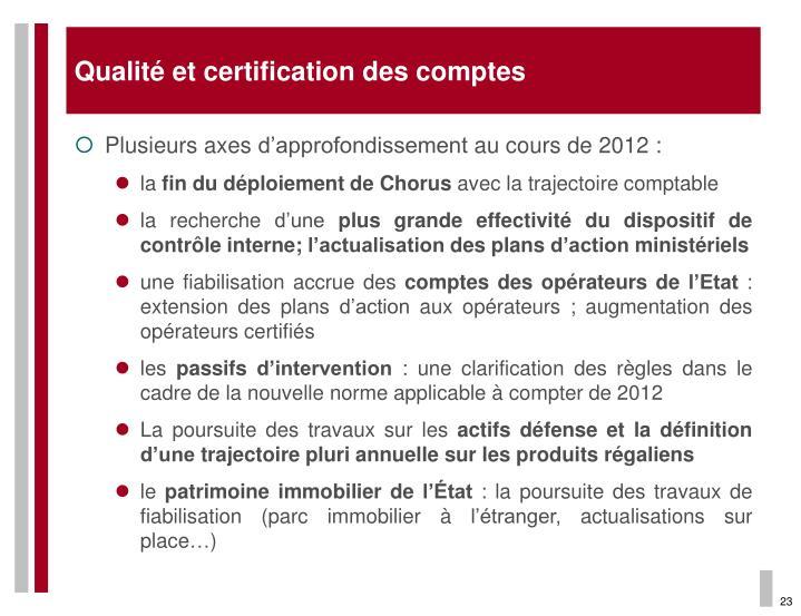 Qualité et certification des comptes