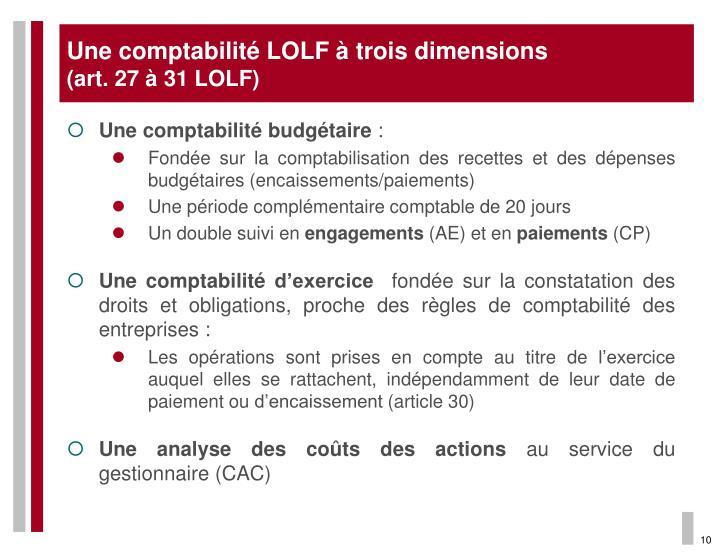 Une comptabilité LOLF à trois dimensions