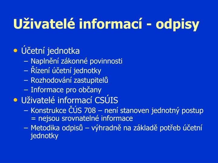 Uživatelé informací - odpisy