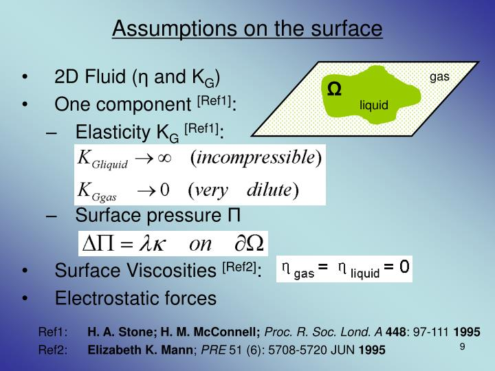 Assumptions on the surface