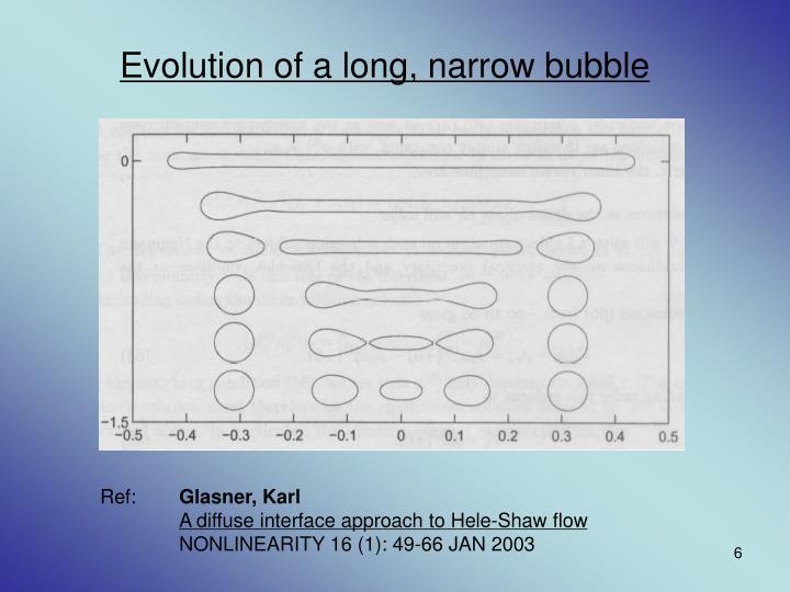 Evolution of a long, narrow bubble