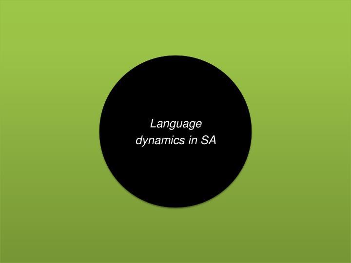 Language dynamics in SA