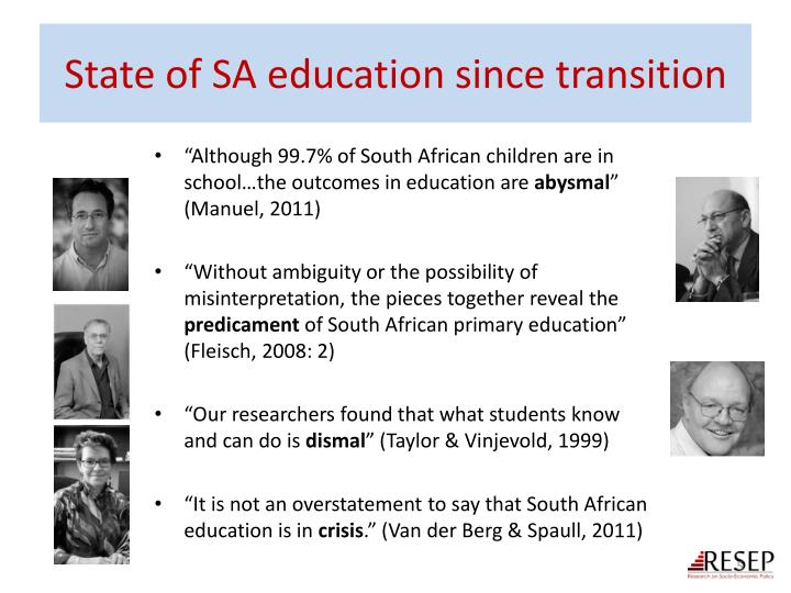 State of SA education since transition