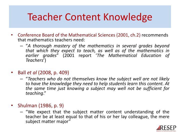 Teacher Content Knowledge
