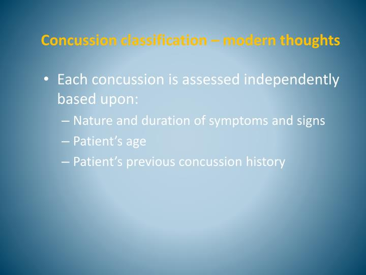 Concussion classification – modern thoughts