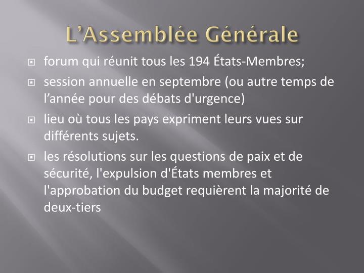 L'Assemblée Générale