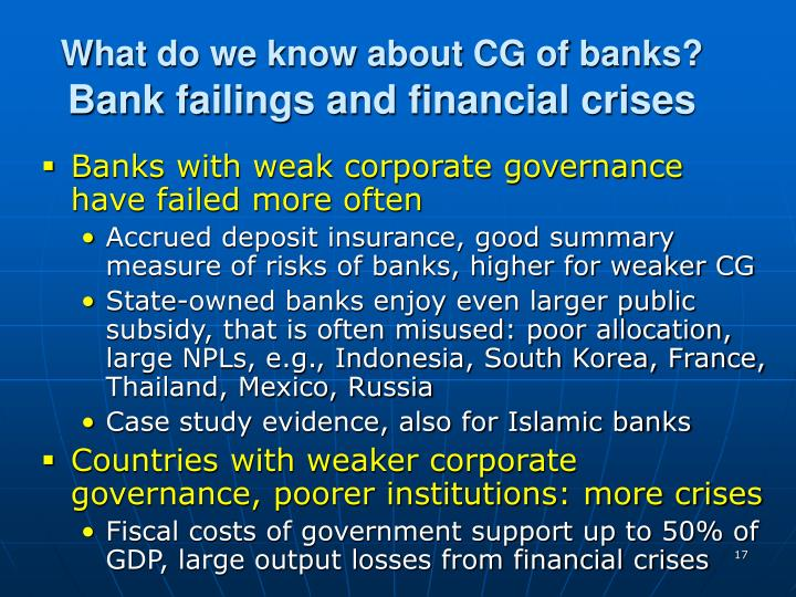 What do we know about CG of banks?