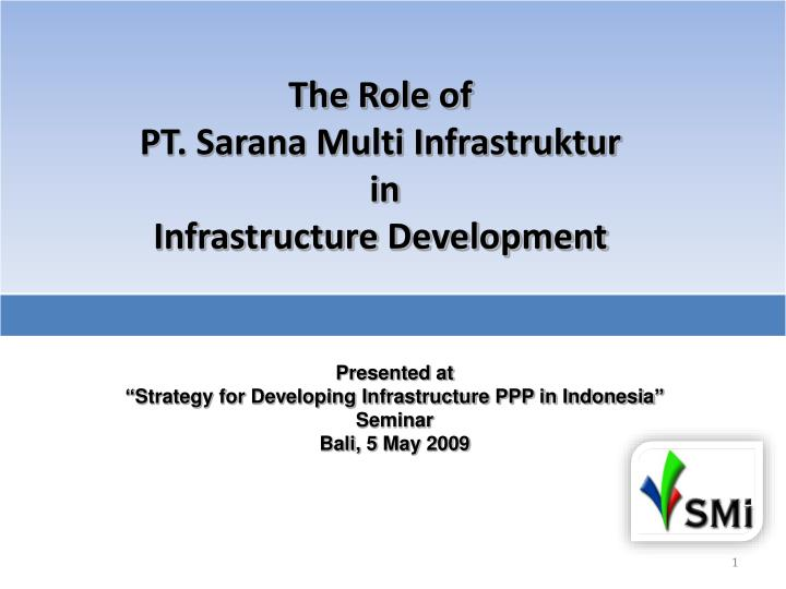 the role of pt sarana multi infrastruktur in infrastructure development