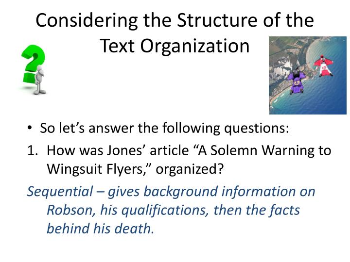 Considering the Structure of the Text Organization