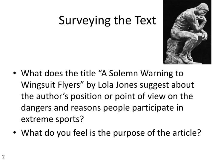 Surveying the Text