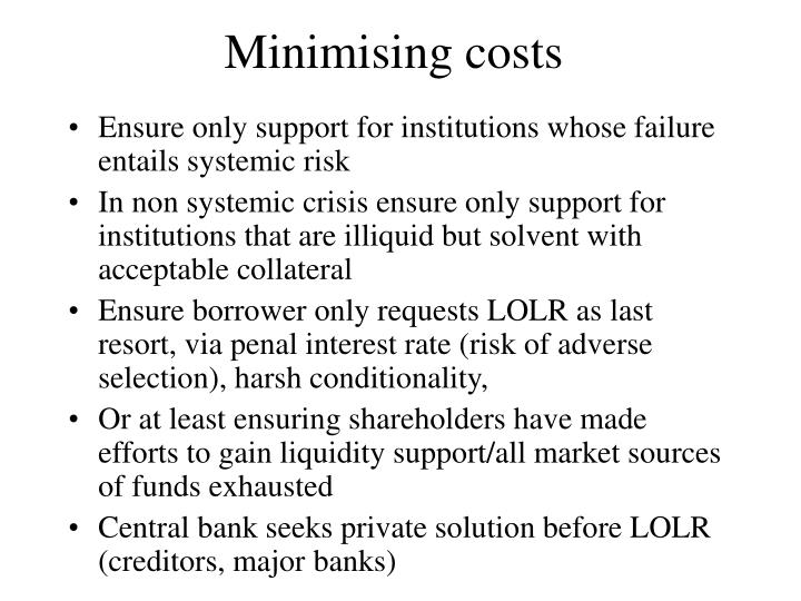 Minimising costs